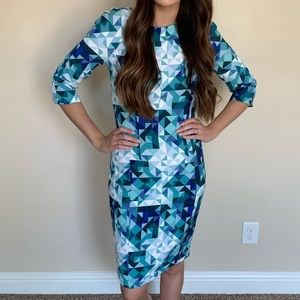 Blue geometric pattern office dress